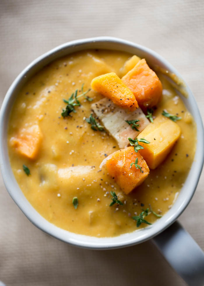 This Rustic Roasted Winter Vegetable Chowder is thick, hearty, and packed with winter veggies like butternut squash, sweet potatoes, and parsnips. Add a crusty loaf of bread for a comforting winter dinner. Vegetarian with vegan/dairy-free option.