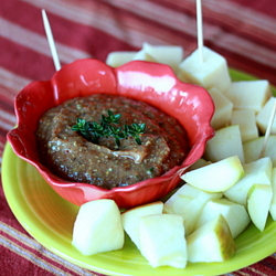 Apple Butter Mustard Dip with Sharp Cheddar and Apple Cubes