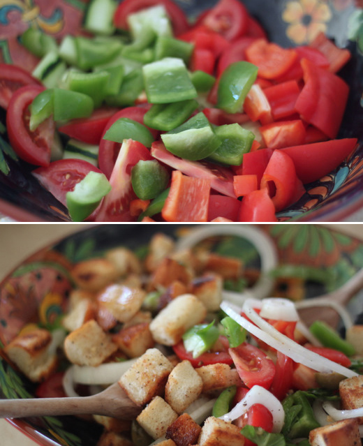 Perfect Panzanella - Olive-oil-toasted bread hunks, rustic chops of green and red peppers, tomatoes, and more - plus basil plucked fresh from the garden.