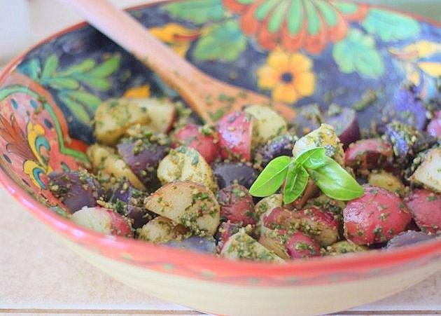 Tri-color potatoes with basil-pecan pesto | Kitchen Treaty