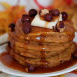 Pumpkin Pancakes with Buttermilk Caramel Syrup & Toasted Hazelnuts | Kitchen Treaty