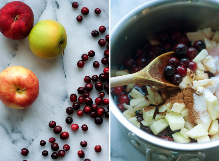 Love this homemade cranberry sauce recipe! Spiced Apple Cranberry Sauce recipe - fresh cranberries simmered with apples and the festive touch of cinnamon and cloves.