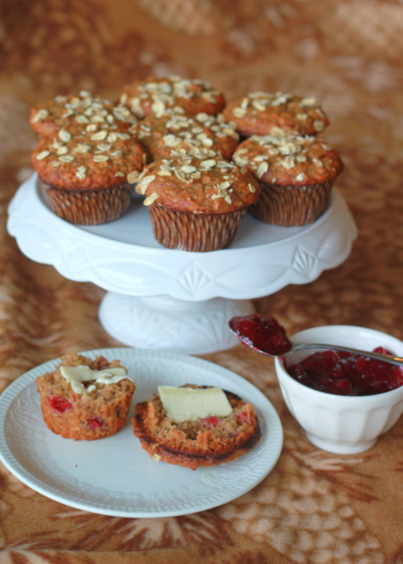 Leftover Cranberry Sauce Muffins recipe - Hearty, tangy muffins using leftover cranberry sauce. They're ridiculously easy to whip up, just perfect for that lazy morning after a big holiday.