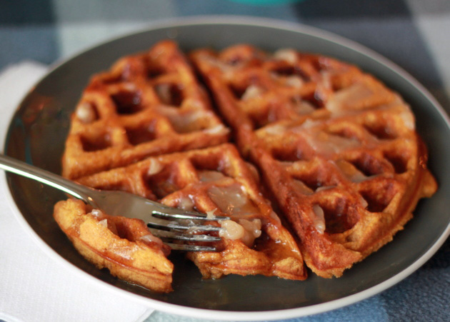 Spiced Pumpkin Buttermilk Waffles with Cinnamon-Honey Butter - Kitchen ...