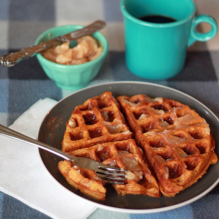 Spiced Pumpkin Buttermilk Waffles with Cinnamon-Honey Butter