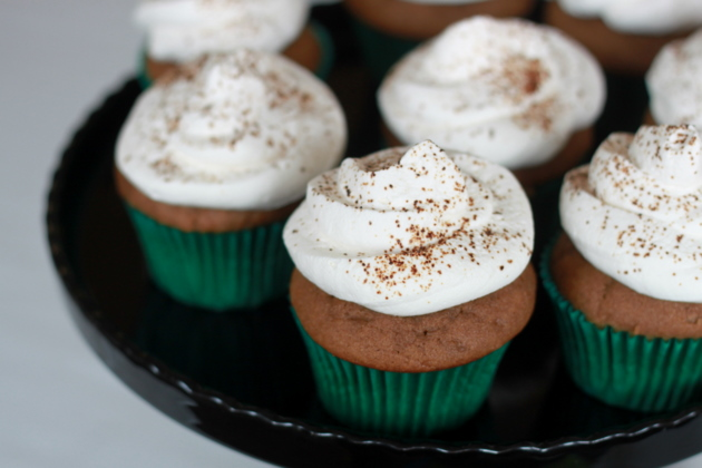 Espresso-spiked coffee cupcakes topped with the perfect companion, light-as-a-cloud Baileys whipped cream. Sprinkle some instant espresso on top, and you're good to go. I love this dessert for Saint Patrick's Day.