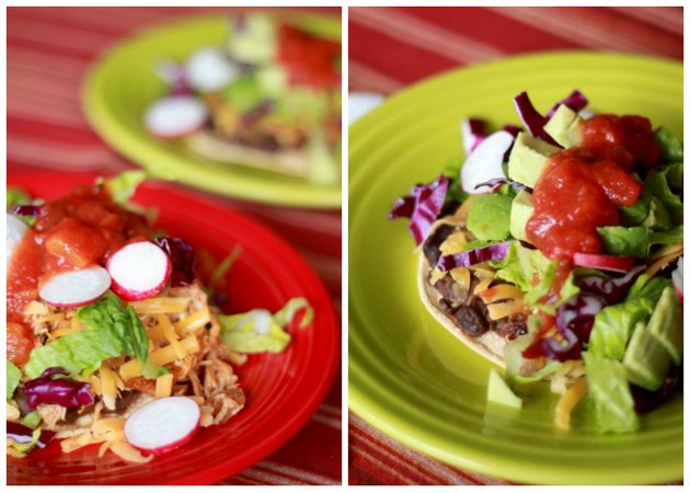 Black Bean Tostadas with Slow-Cooker Cheddar-Beer Chicken (or Not)