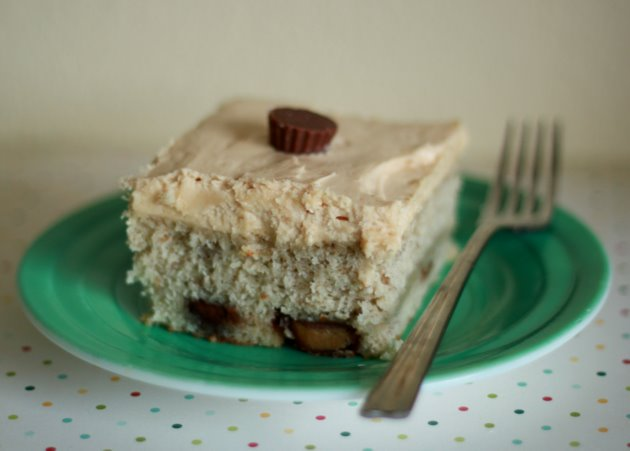 Reeses Peanut Butter Cup Banana Cake with Peanut Butter Cream Cheese Frosting
