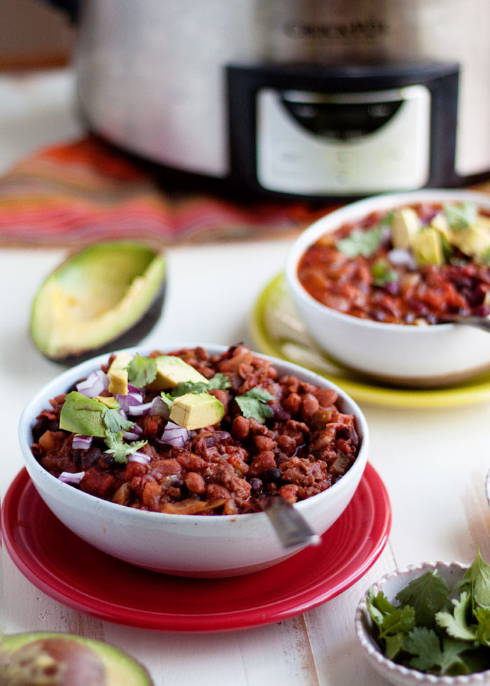 Slow Cooker Easy 3-Bean Chili - THE Crock Pot chili recipe in our house. A vegan recipe with options for the carnivores, if you like.
