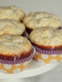 Glazed Greek yogurt lemon poppyseed muffins   kitchentreaty.com