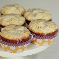 Glazed Greek yogurt lemon poppyseed muffins | kitchentreaty.com