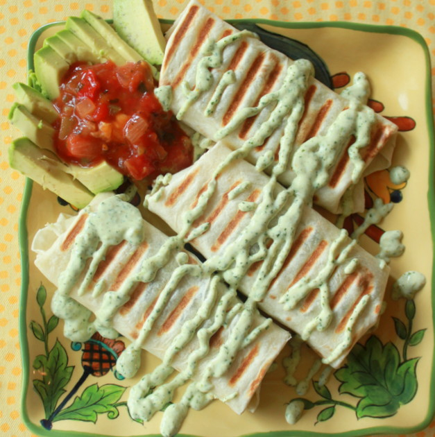 Grilled Black Bean Burritos with Creamy Cilantro-Jalapeno Sauce and ...