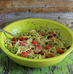 Kale & Toasted Walnut Pesto Pasta with Cherry Tomatoes