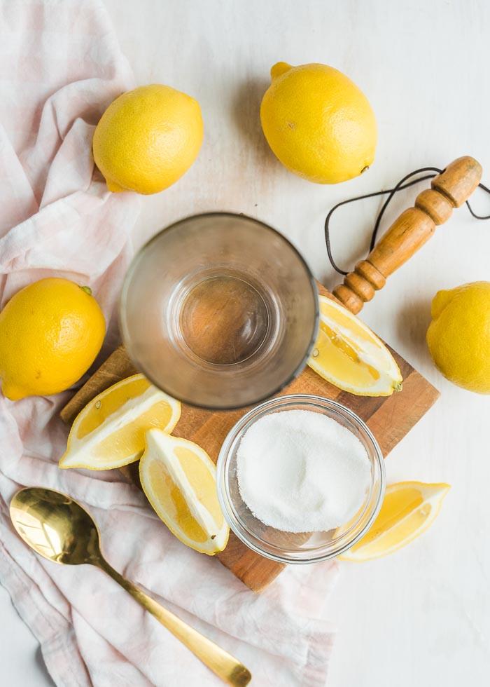 Ingredients for single-serving lemonade include lemons and sugar