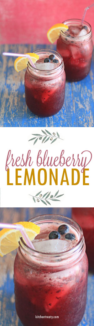 Fresh Blueberry Lemonade - Fresh, sweet pureed blueberries swimming with tart lemon makes for a very special (and pretty!) summer drink.