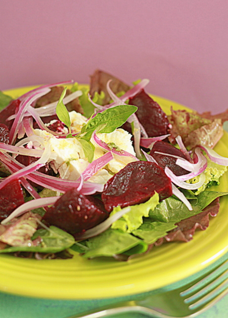 Roasted Beet, Icy Red Onion & Creamy Goat Cheese Salad with Fresh ...