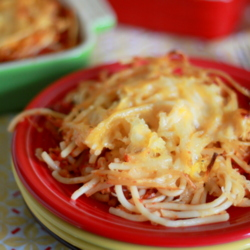 Baked Spaghetti & Spaghetti Squash with Optional Ground Beef