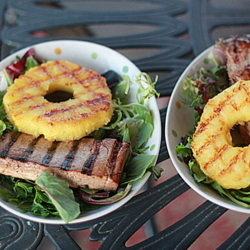 Grilled Teriyaki Chicken or Tofu with Fresh Grilled Pineapple