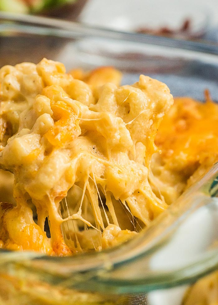 Scoop of the best baked macaroni and cheese recipe ever