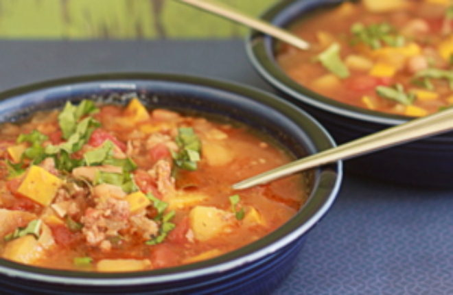 Slow Cooker Smoky White Bean & Summer Squash Soup with Optional Andouille Sausage | Kitchen Treaty