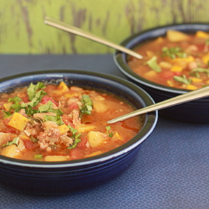 Slow Cooker Smoky White Bean & Summer Squash Soup with Optional Andouille Sausage