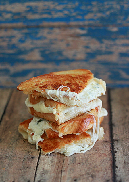 White Pizza Grilled Cheese recipe - All the flavors of classic white pizza in the form of grilled cheese goodness.