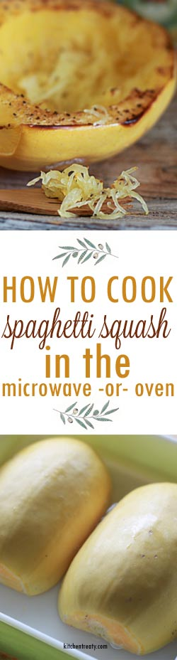 Two easy ways to cook spaghetti squash, either in the microwave or in the oven