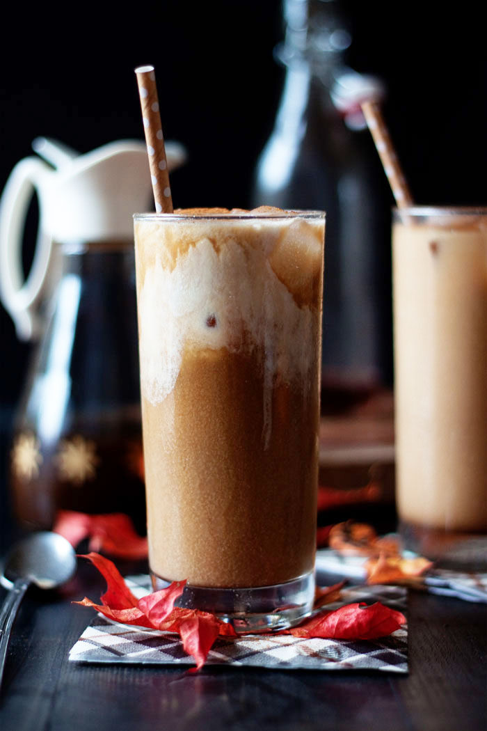 Pumpkin Spice Iced Coffee recipe - Rich, creamy iced coffee spiked with the delicious, warm flavors of fall - pumpkin, cinnamon, nutmeg ... perfection. Vegan and non-refined-sugar options.