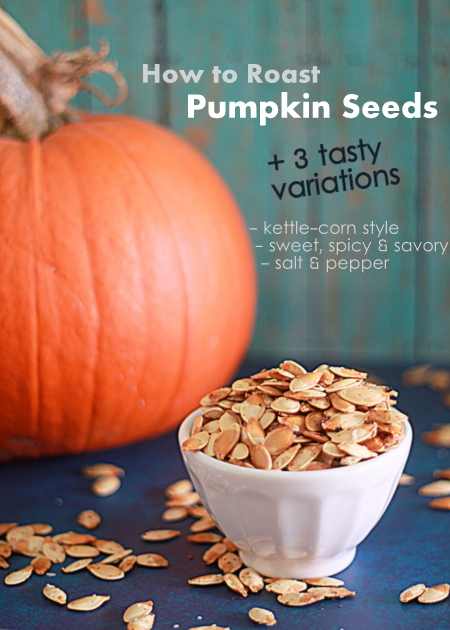 How to Roast Pumpkin Seeds, plus 3 tasty flavor variations: Kettle Corn Style; Sweet, Spicy, & Savory; and Salt & Pepper