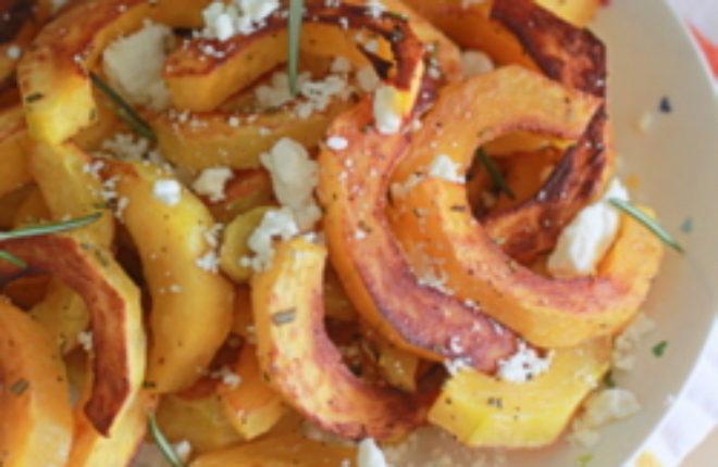 Oven-Roasted Delicata Squash with Rosemary and Feta | Kitchen Treaty