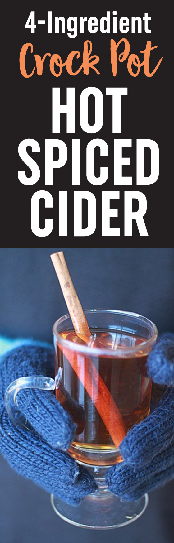 Slow Cooker Hot Spiced Apple Cider - With just four ingredients (okay, five if you decide to spike it with your favorite rum) this Crock Pot mulled cider recipe couldn't be any easier to make.