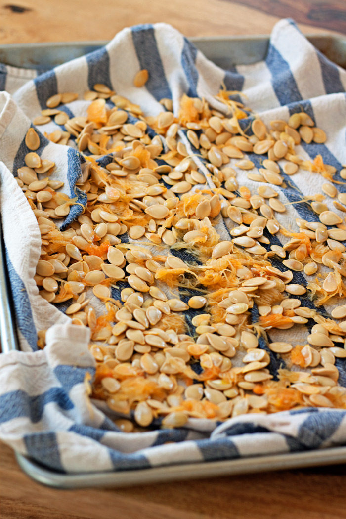 Delicious, healthy pumpkin seeds are the best pumpkin-carving snack. Whether you're pureeing your own pumpkin or creating your jack o'masterpiece, don't let these little gems go to waste! They're easy to roast to crunchy, addicting perfection. Here's the step-by-step on how to roast pumpkin eeds, plus 3 tasty flavor variations: Kettle Corn Style; Sweet, Spicy, & Savory; and Salt & Pepper