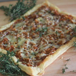 Caramelized Onion, Fig & Gruyere Tart with Fresh Thyme