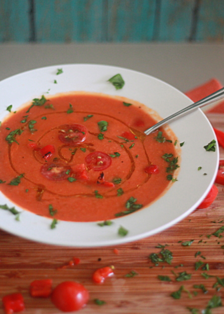 ... sharing a riff on my creamy tomato soup : roasted red pepper & tomato