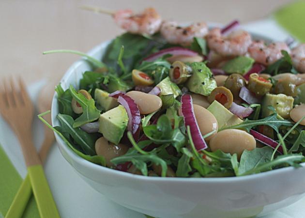 Lemony butter bean, avocado, & baby arugula salad with optional grilled shrimp | Kitchen Treat