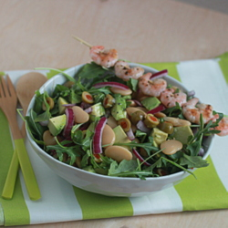Lemony Butter Bean, Avocado, & Baby Arugula Salad with Optional Grilled Shrimp