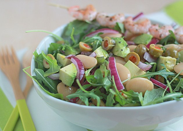 Lemony butter bean, avocado, & baby arugula salad with optional grilled shrimp | Kitchen Treaty