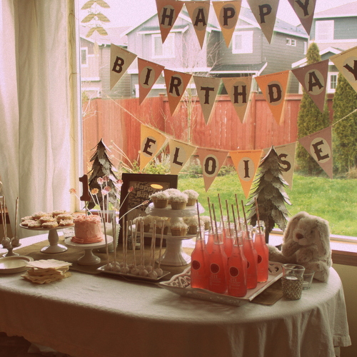 Snow Bunny 1st Birthday Party Dessert Table | Kitchen Treaty