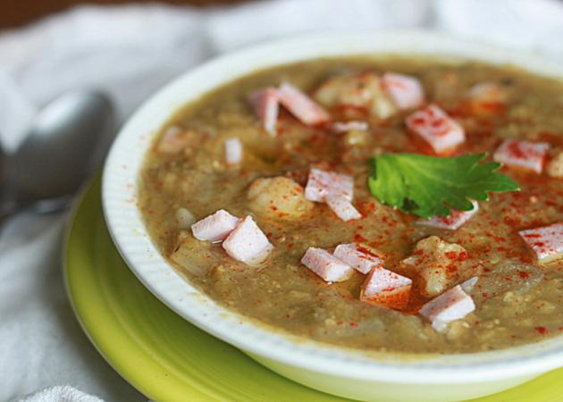 Crock Pot vegetarian split pea and cauliflower soup with optional ham add-in | Kitchen Treaty