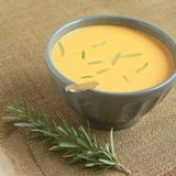 Vegetarian creamy sweet potato rosemary soup square