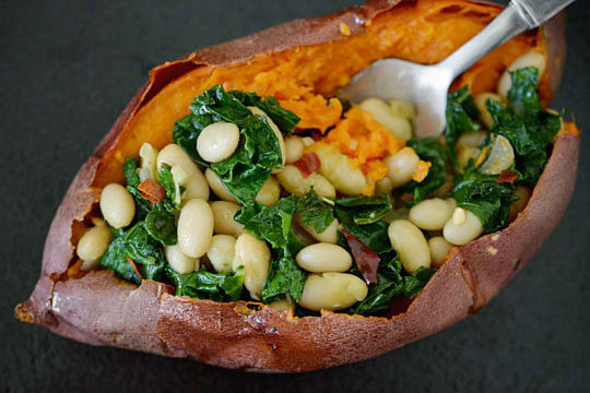 Savory Stuffed Sweet Potatoes with White Beans and Kale. Source: The Kitchn