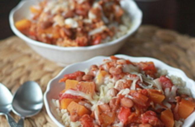 Vegetarian butternut squash & beer chili with optional ground turkey add-in