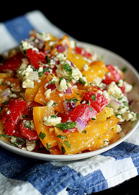 Roasted Pepper and Feta Salad   Kitchen Treaty