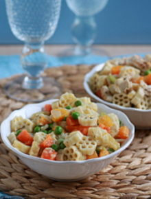 Veggie pot pie pasta with optional chicken add-in | Kitchen Treaty