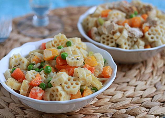 Veggie pot pie pasta with optional chicken add-in   Kitchen Treaty