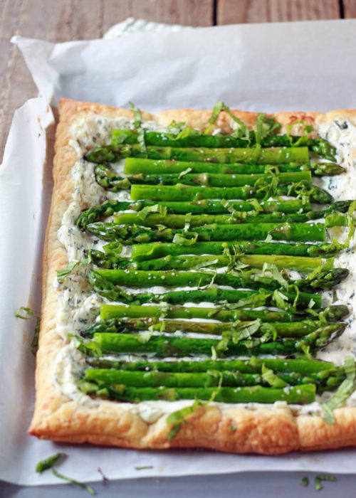 Asparagus, Basil, & Cream Cheese Tart with Optional Bacon