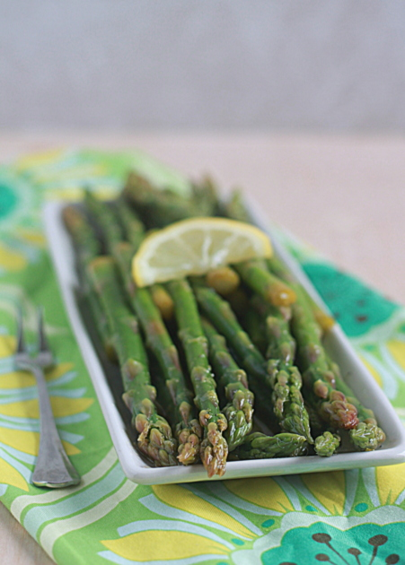 Lemony Marinated Asparagus recipe - Just 5 minutes to assemble! A super easy springtime appetizer or side that hangs out in the fridge until you're ready to serve it. Vegetarian with vegan option.