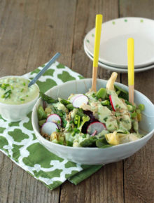 Spring Veggie Salad with Creamy Avocado Ranch
