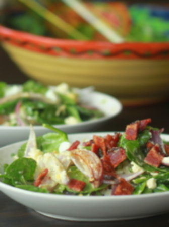 Wilted spinach and feta salad with optional bacon | Kitchen Treaty