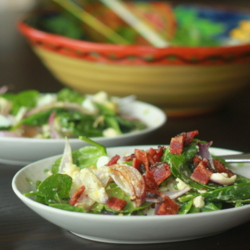 Wilted Spinach and Feta Salad with Optional Bacon